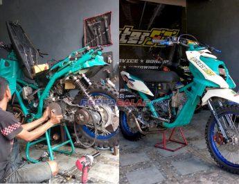 Imbas Libur Balap Karena Corona, Privater93 Bandung Bangun Monster Matic Basic Yamaha X-Ride 125
